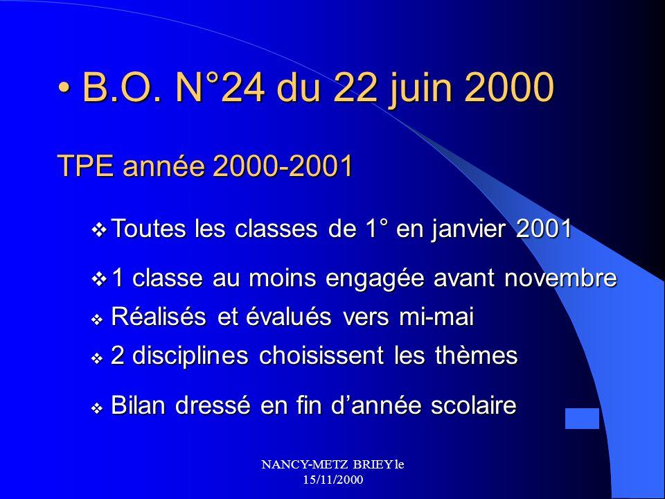 NANCY-METZ BRIEY le 15/11/2000 TPE en classe de 1° B.O. N°9 du 2 mars 2000 B.O. N°9 du 2 mars 2000  Organisés autour de 2 disciplines  Deux heures a