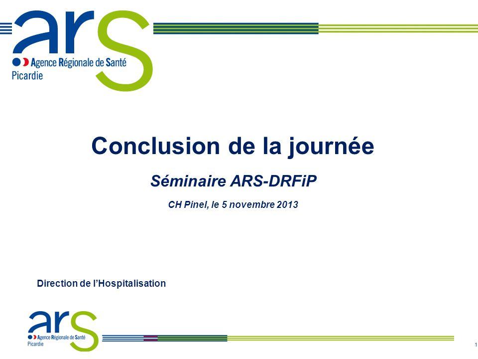 1 Conclusion de la journée Séminaire ARS-DRFiP CH Pinel, le 5 novembre 2013 Direction de l'Hospitalisation