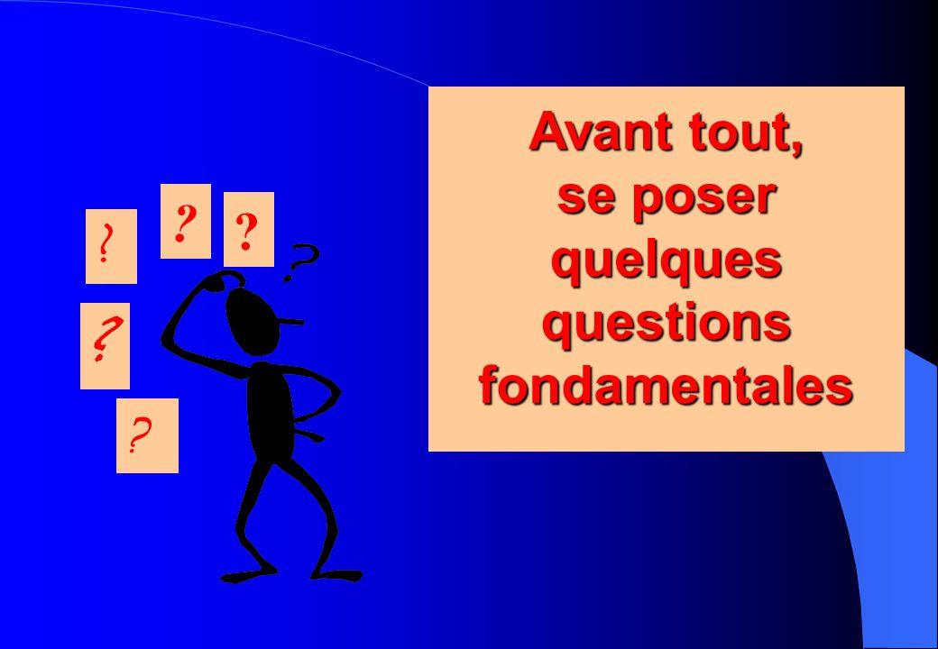 Avant tout, se poser quelques questions fondamentales Avant tout, se poser quelques questions fondamentales ? ? ? ? ?