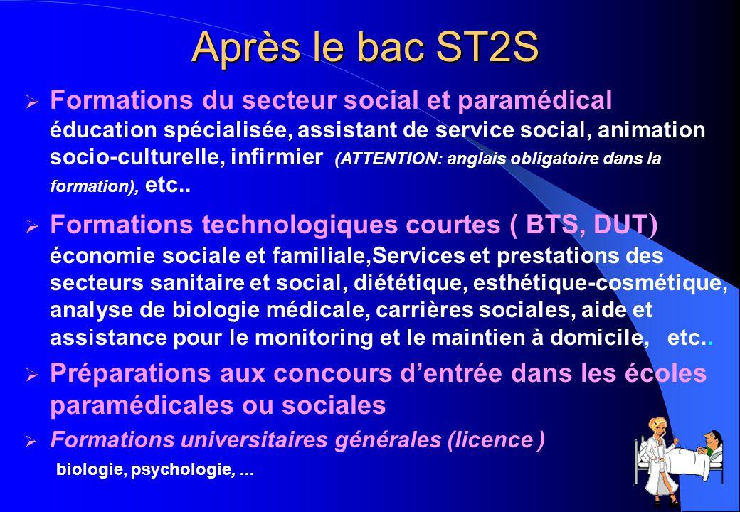 34 Après le bac ST2S  Formations du secteur social et paramédical éducation spécialisée, assistant de service social, animation socio-culturelle, inf