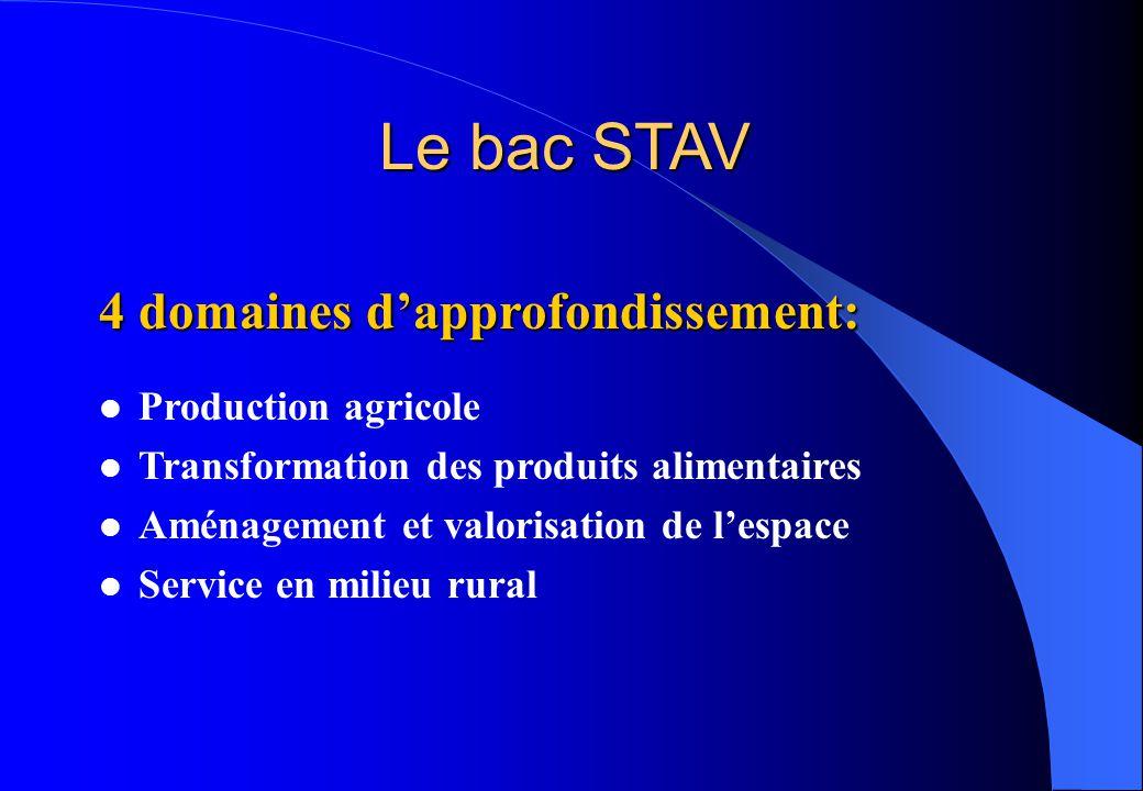 Le bac STAV 4 domaines d'approfondissement: l Production agricole l Transformation des produits alimentaires l Aménagement et valorisation de l'espace
