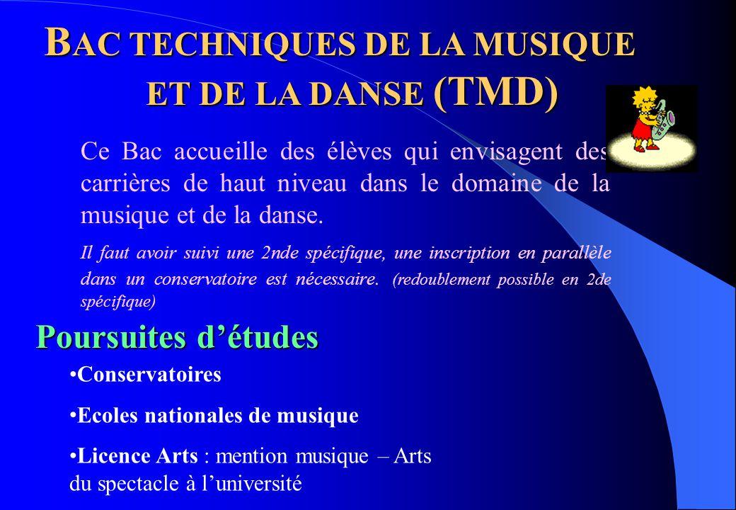 B AC TECHNIQUES DE LA MUSIQUE ET DE LA DANSE (TMD) Poursuites d'études Conservatoires Ecoles nationales de musique Licence Arts : mention musique – Ar