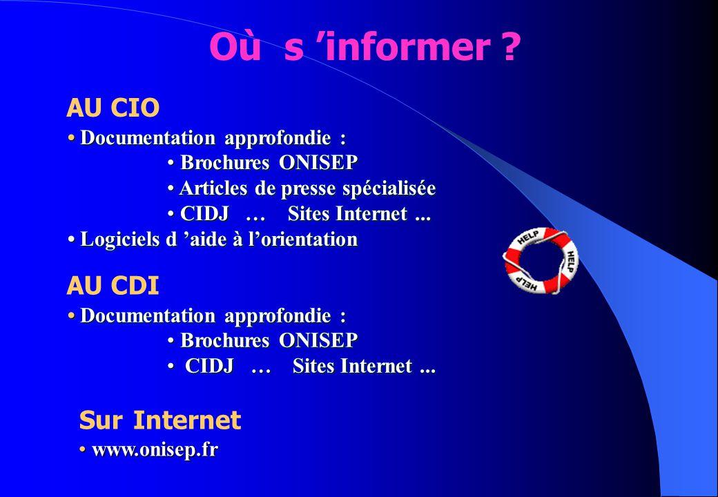 Documentation approfondie : Documentation approfondie : Brochures ONISEP Brochures ONISEP Articles de presse spécialisée Articles de presse spécialisé