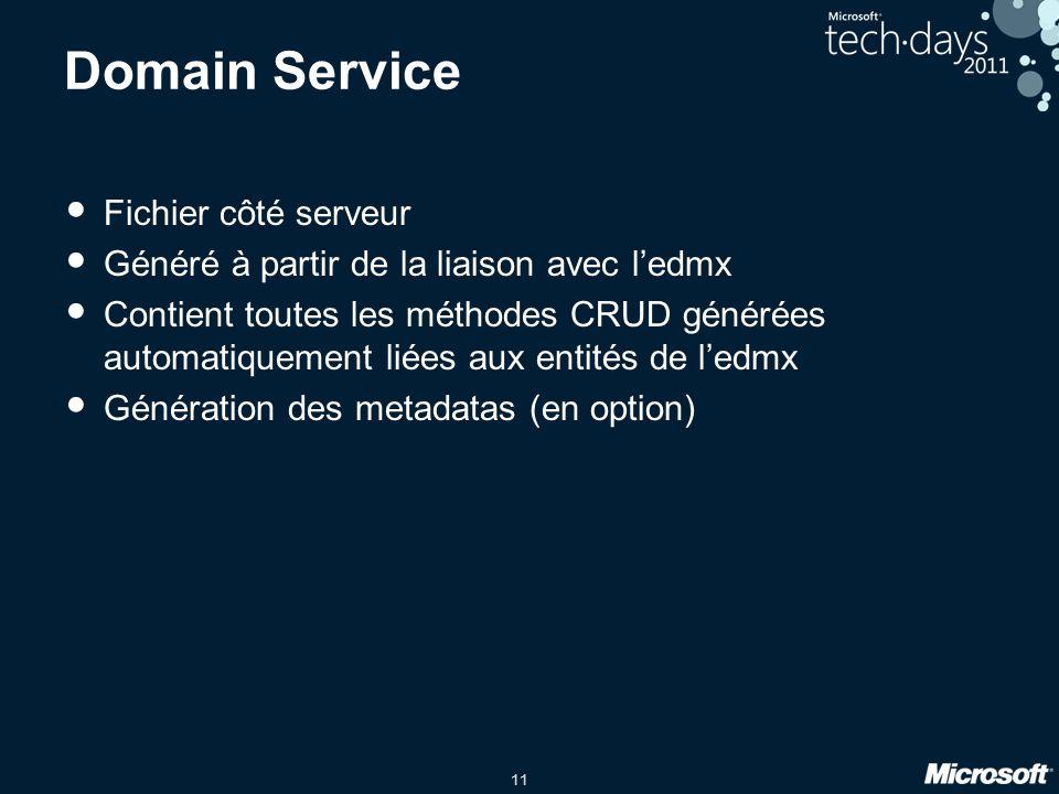 11 Domain Service Fichier côté serveur Généré à partir de la liaison avec l'edmx Contient toutes les méthodes CRUD générées automatiquement liées aux
