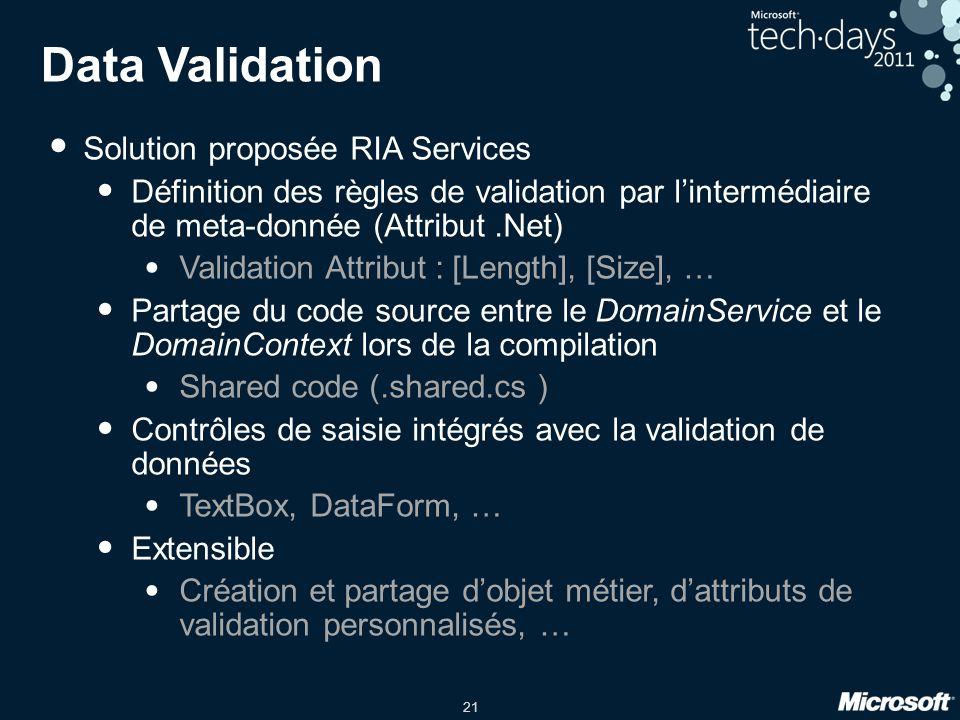 21 Data Validation Solution proposée RIA Services Définition des règles de validation par l'intermédiaire de meta-donnée (Attribut.Net) Validation Att