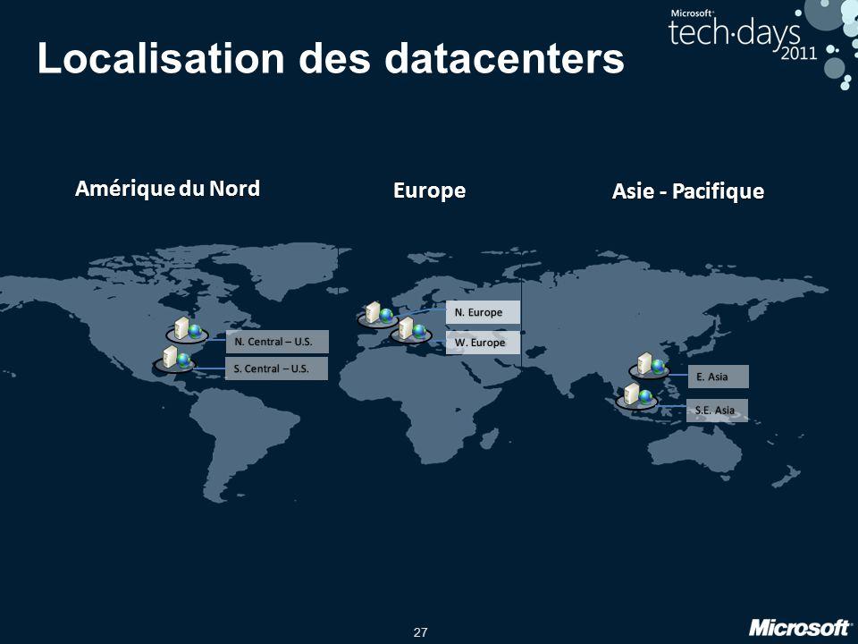 27 Localisation des datacenters Amérique du NordAmérique du Nord Europe Asie - PacifiqueAsie - Pacifique