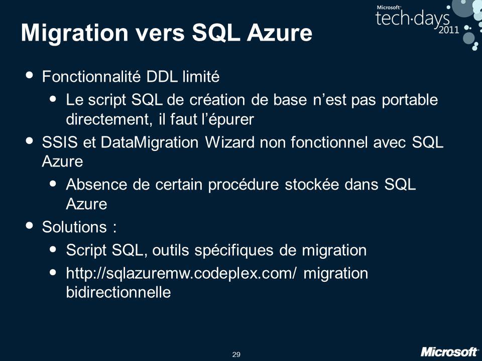 29 Migration vers SQL Azure Fonctionnalité DDL limité Le script SQL de création de base n'est pas portable directement, il faut l'épurer SSIS et DataM