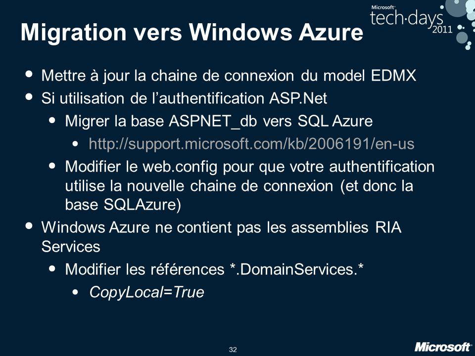 32 Migration vers Windows Azure Mettre à jour la chaine de connexion du model EDMX Si utilisation de l'authentification ASP.Net Migrer la base ASPNET_