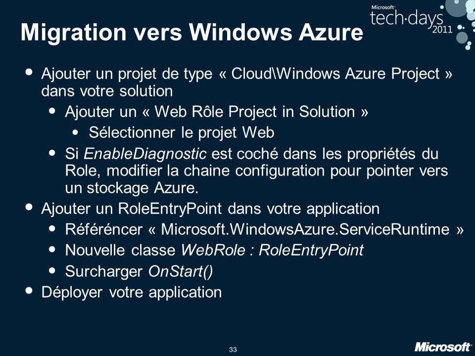 33 Migration vers Windows Azure Ajouter un projet de type « Cloud\Windows Azure Project » dans votre solution Ajouter un « Web Rôle Project in Solutio