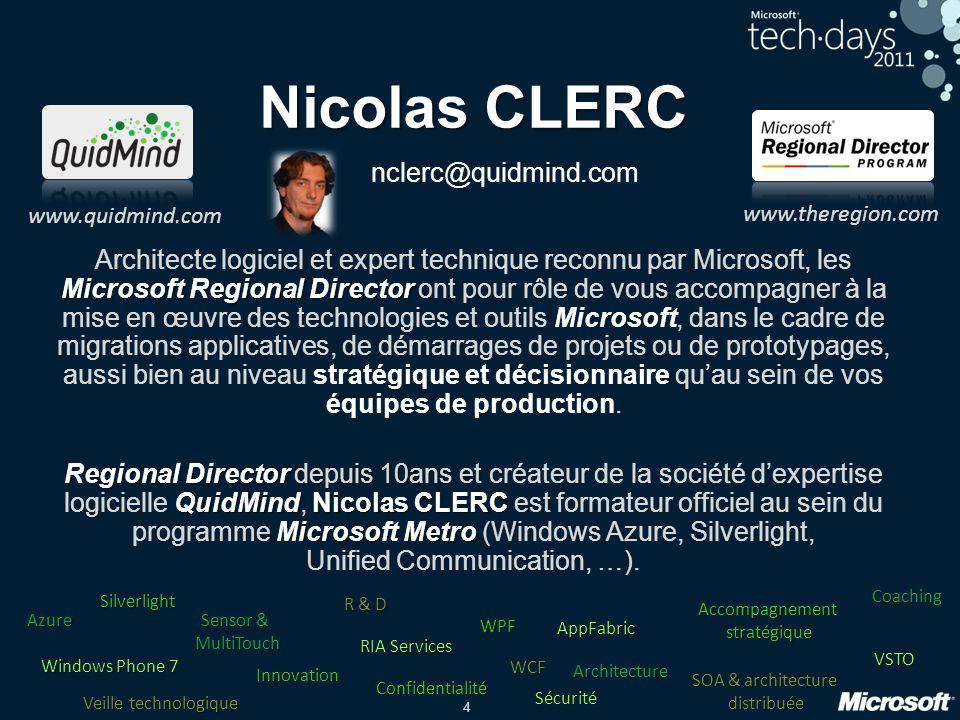 4 Nicolas CLERC nclerc@quidmind.com Microsoft Regional Director Architecte logiciel et expert technique reconnu par Microsoft, les Microsoft Regional