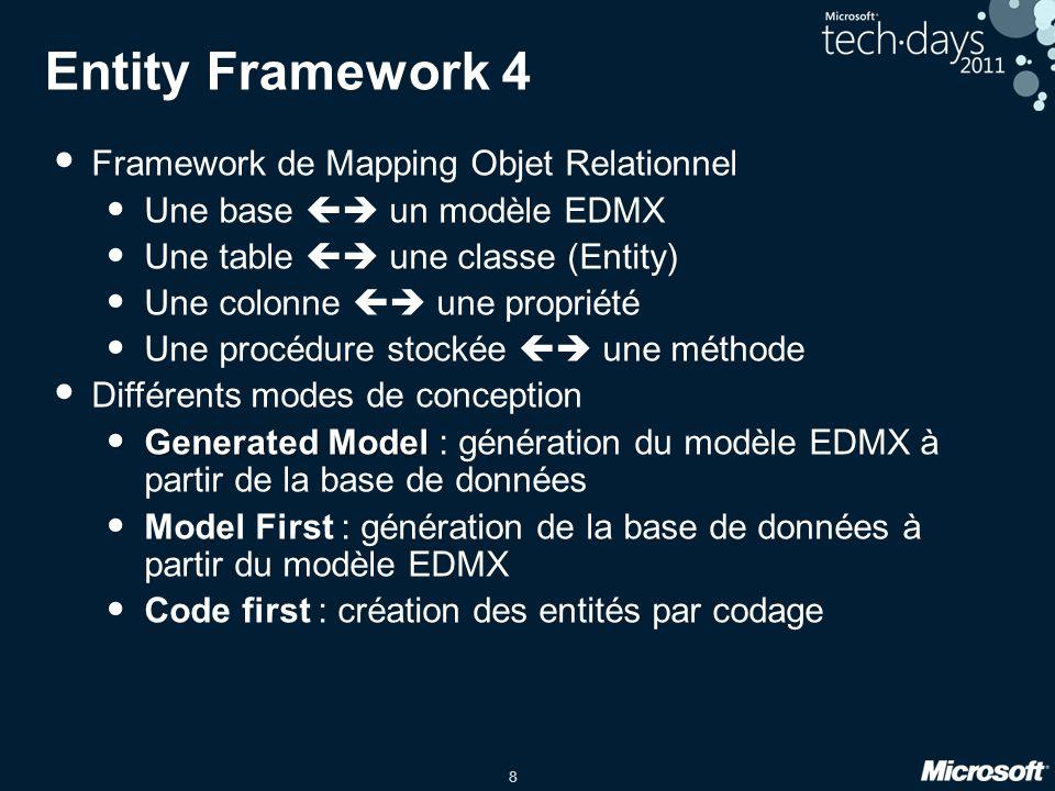 8 Entity Framework 4 Framework de Mapping Objet Relationnel Une base  un modèle EDMX Une table  une classe (Entity) Une colonne  une propriété U