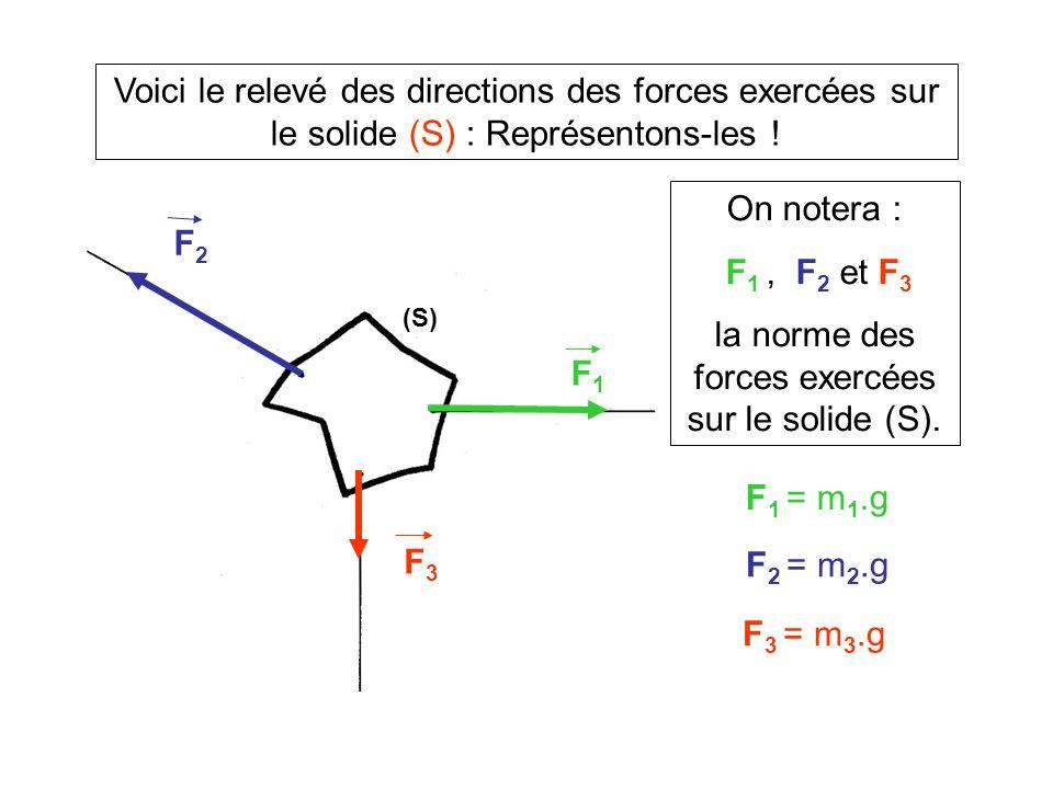Voici le relevé des directions des forces exercées sur le solide (S) : Représentons-les ! (S) On notera : F 1, F 2 et F 3 la norme des forces exercées