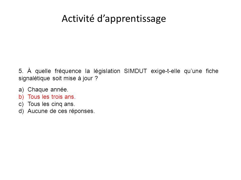 Activité d'apprentissage 5. À quelle fréquence la législation SIMDUT exige-t-elle qu'une fiche signalétique soit mise à jour ? a)Chaque année. b)Tous