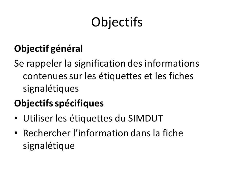 Objectifs Objectif général Se rappeler la signification des informations contenues sur les étiquettes et les fiches signalétiques Objectifs spécifique