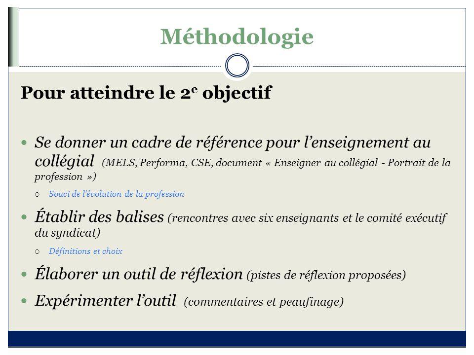 Méthodologie Pour atteindre le 2 e objectif Se donner un cadre de référence pour l'enseignement au collégial (MELS, Performa, CSE, document « Enseigne