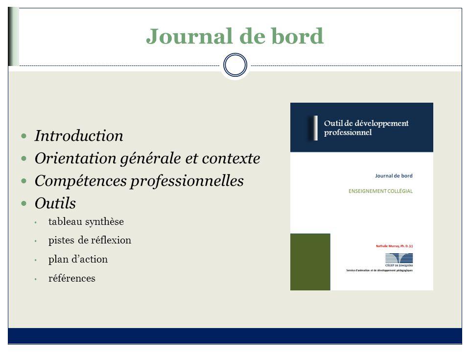 Journal de bord Introduction Orientation générale et contexte Compétences professionnelles Outils tableau synthèse pistes de réflexion plan d'action r