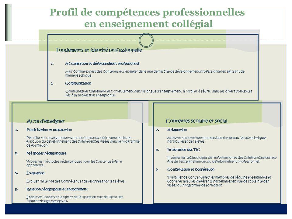 Profil de compétences professionnelles en enseignement collégial Fondements et identité professionnelle 1.Actualisation et développement professionnel
