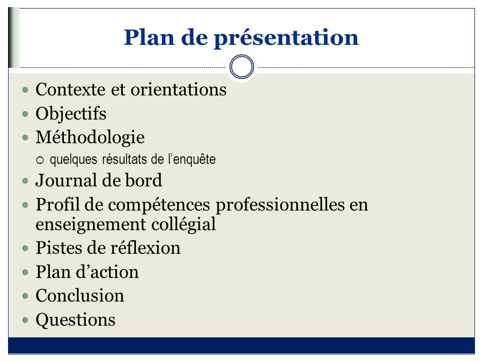 Plan de présentation Contexte et orientations Objectifs Méthodologie  quelques résultats de l'enquête Journal de bord Profil de compétences professio