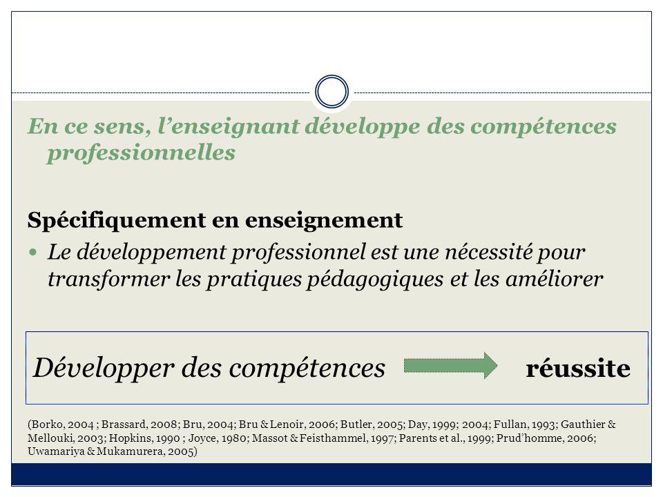 En enseignement Référentiel Le profil de compétences professionnelles devient un cadre de référence pour la FI et la FC (développement professionnel) (Altet, 1994; 1998; 2001; Andersen, 1973; 1986; Donnay & Dreyfus, 1999; Elliot, 1991; Flück, 2001; Kalika, 1998; Lafranchise, 2010; Le Boterf, 1999; 2009; Perrenoud, 1999b; Presseau, Martineau & Miron, 2002; Uwamariya & Mukamurera, 2005)