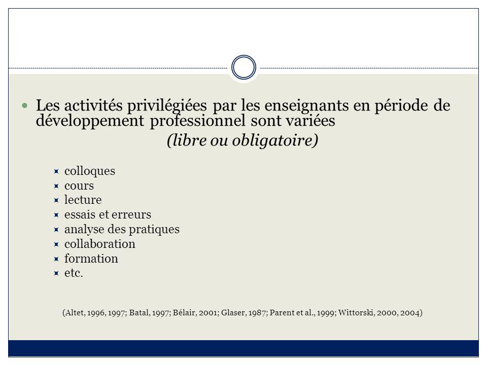 Les activités privilégiées par les enseignants en période de développement professionnel sont variées (libre ou obligatoire)  colloques  cours  lec