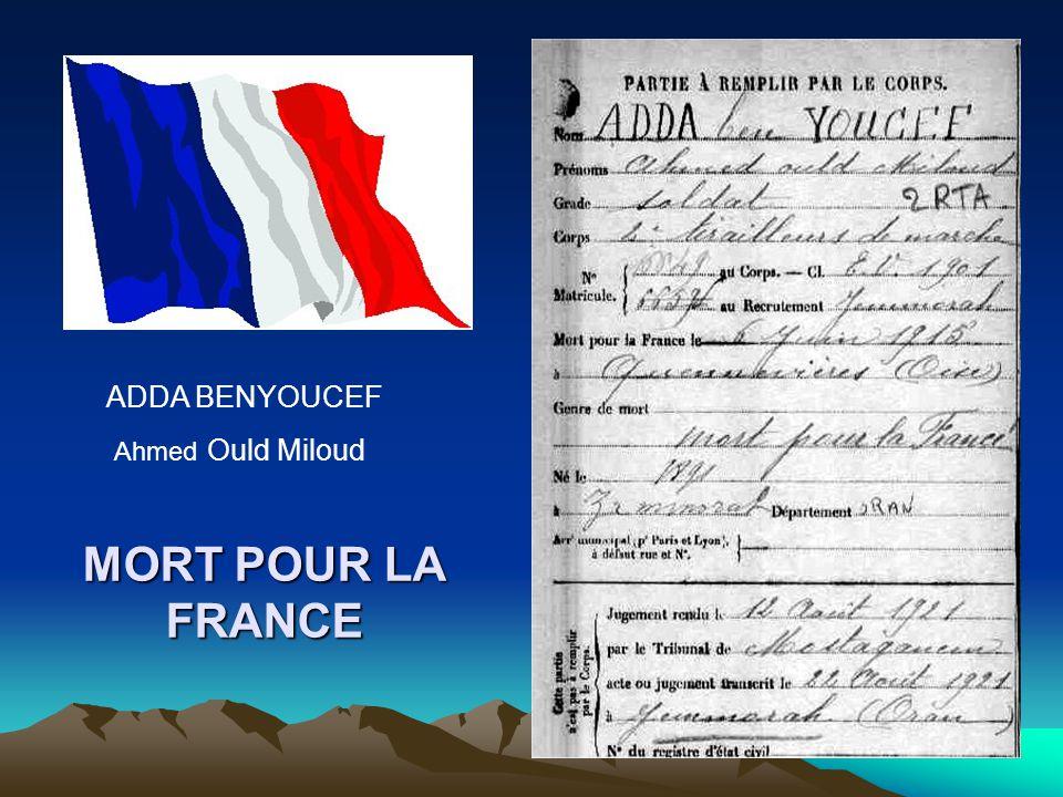 MORT POUR LA FRANCE BENDJEBBAR Abdelkader Ould Hadj Ould Lahib