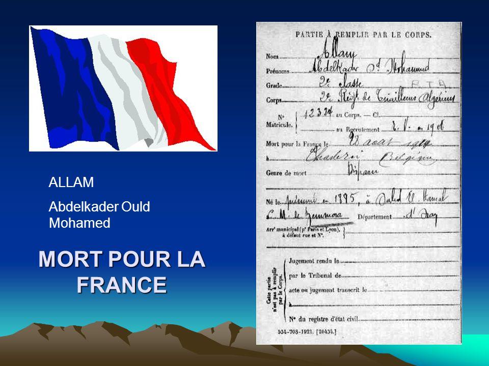 MORT POUR LA FRANCE BENYAGOUB Benaouda Ould Ahmed