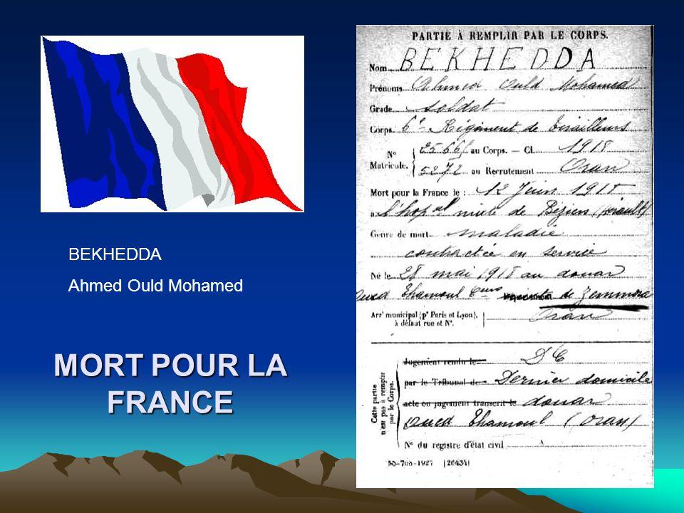 MORT POUR LA FRANCE BEKHEDDA Larbi Ould Benaouda