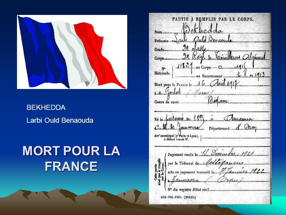 MORT POUR LA FRANCE BENYAMINA Ahmed Ould Kaddour