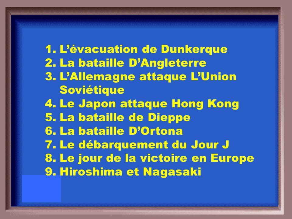 Placer ces événements en ordre chronologique: 1.L'évacuation de Dunkerque 2.La bataille D'Angleterre 3.Le Japon attaque Hong Kong 4.La bataille de Die
