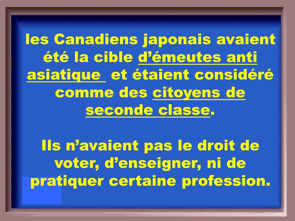 Avant la Deuxième Guerre mondiale, comment est ce que les Canadiens voyaient les Canadiens japonais?