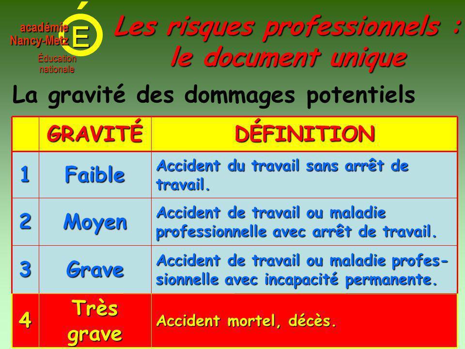 E Éducationnationale académieNancy-Metz La gravité des dommages potentiels Accident mortel, décès.