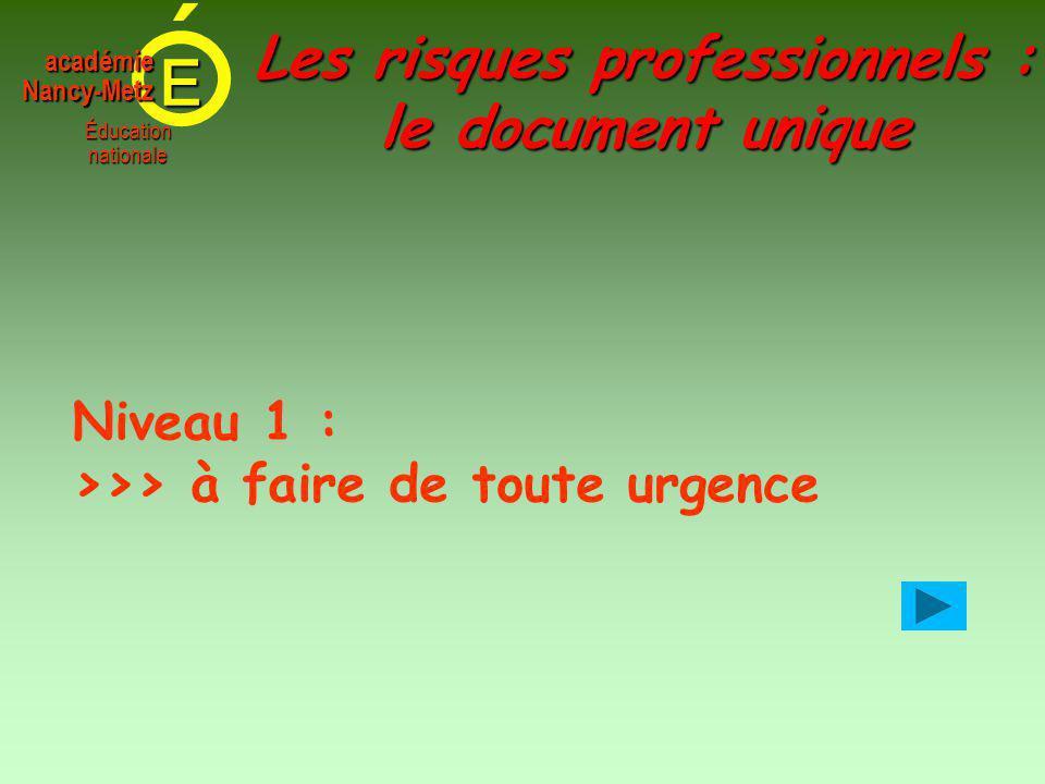 E Éducationnationale académieNancy-Metz Les risques professionnels : le document unique Niveau 1 : >>> à faire de toute urgence
