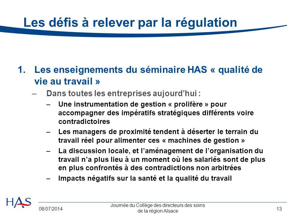 Journée du Collège des directeurs des soins de la région Alsace 08/07/201413 Les défis à relever par la régulation 1.Les enseignements du séminaire HA