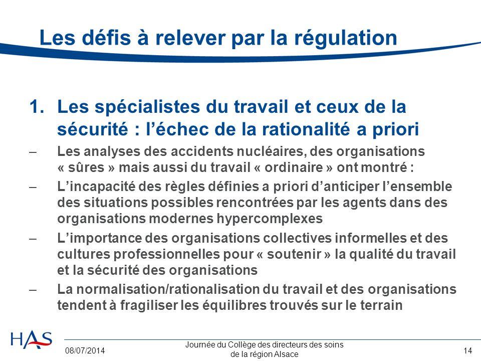 Journée du Collège des directeurs des soins de la région Alsace 08/07/201414 Les défis à relever par la régulation 1.Les spécialistes du travail et ce