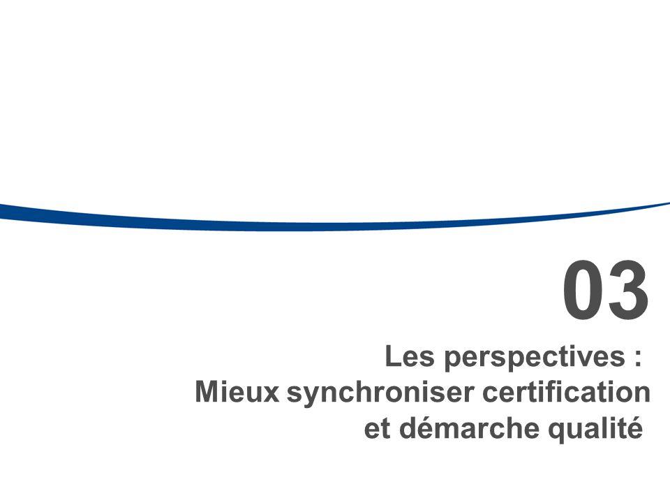 03 Les perspectives : Mieux synchroniser certification et démarche qualité