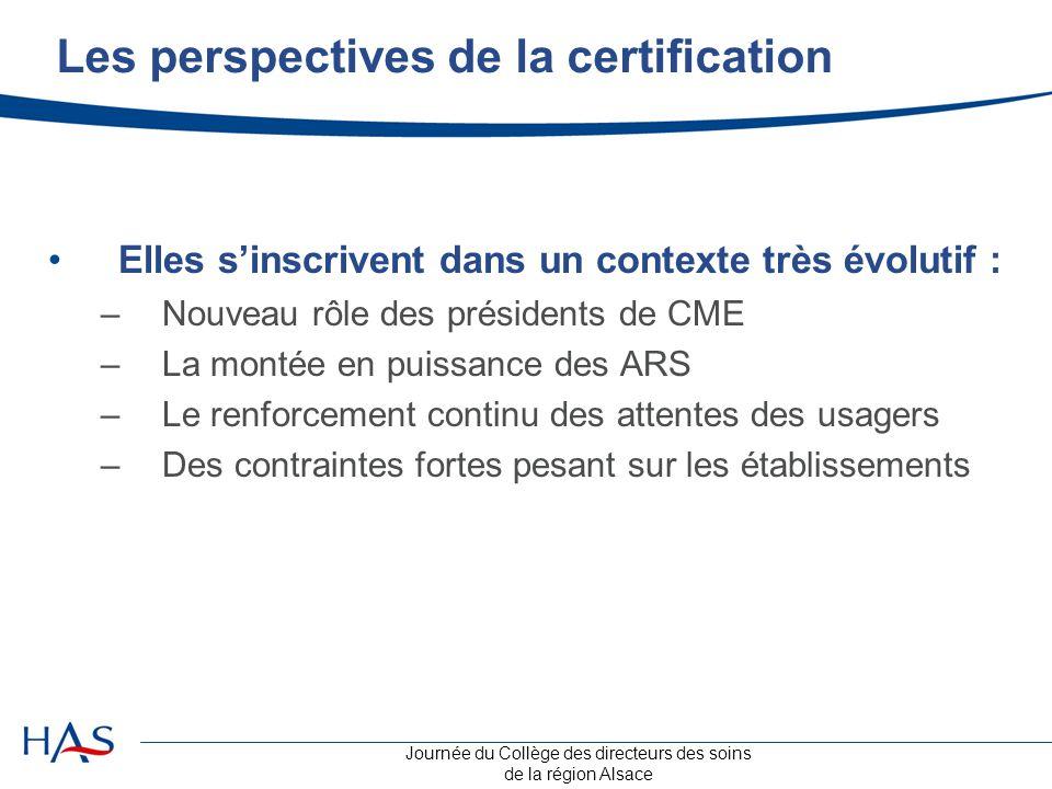Journée du Collège des directeurs des soins de la région Alsace Les perspectives de la certification Elles s'inscrivent dans un contexte très évolutif