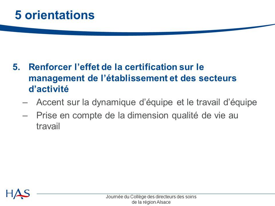 Journée du Collège des directeurs des soins de la région Alsace 5 orientations 5.Renforcer l'effet de la certification sur le management de l'établiss