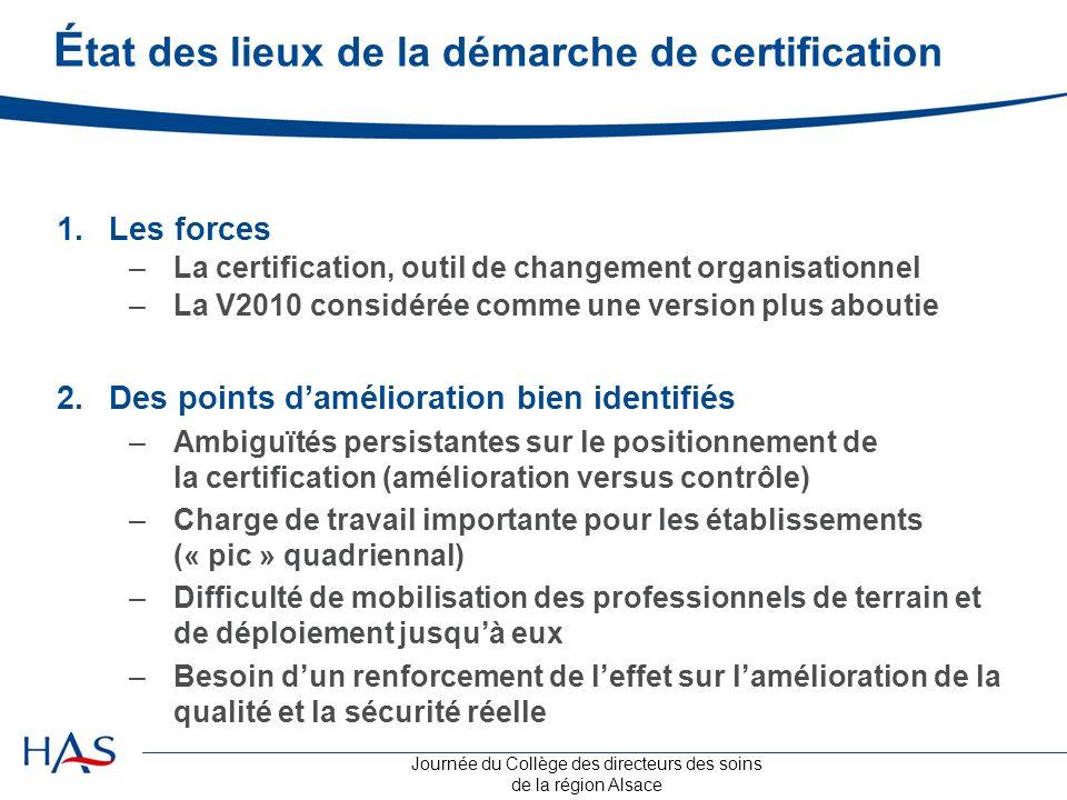 Journée du Collège des directeurs des soins de la région Alsace É tat des lieux de la démarche de certification 1.Les forces –La certification, outil