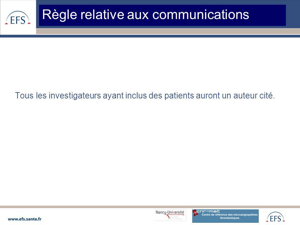 Tous les investigateurs ayant inclus des patients auront un auteur cité.