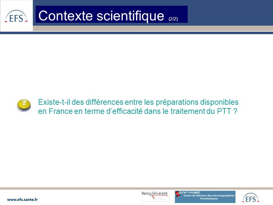 Contexte scientifique (2/2) Existe-t-il des différences entre les préparations disponibles en France en terme d'efficacité dans le traitement du PTT ?