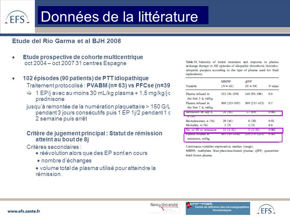 Etude del Rio Garma et al BJH 2008  Etude prospective de cohorte multicentrique oct 2004 – oct 2007 31 centres Espagne  102 épisodes (90 patients) de PTT idiopathique Traitement protocolisé : PVABM (n= 63) vs PFCse (n=39)  1 EP/j avec au moins 30 mL/kg plasma + 1,5 mg/kg/j de prednisone jusqu'à remontée de la numération plaquettaire > 150 G/L pendant 3 jours consécutifs puis 1 EP 1j/2 pendant 1 ou 2 semaine puis arrêt Critère de jugement principal : Statut de rémission atteint au bout de 8j Critères secondaires :  réévolution alors que des EP sont en cours  nombre d'échanges  volume total de plasma utilisé pour atteindre la rémission.