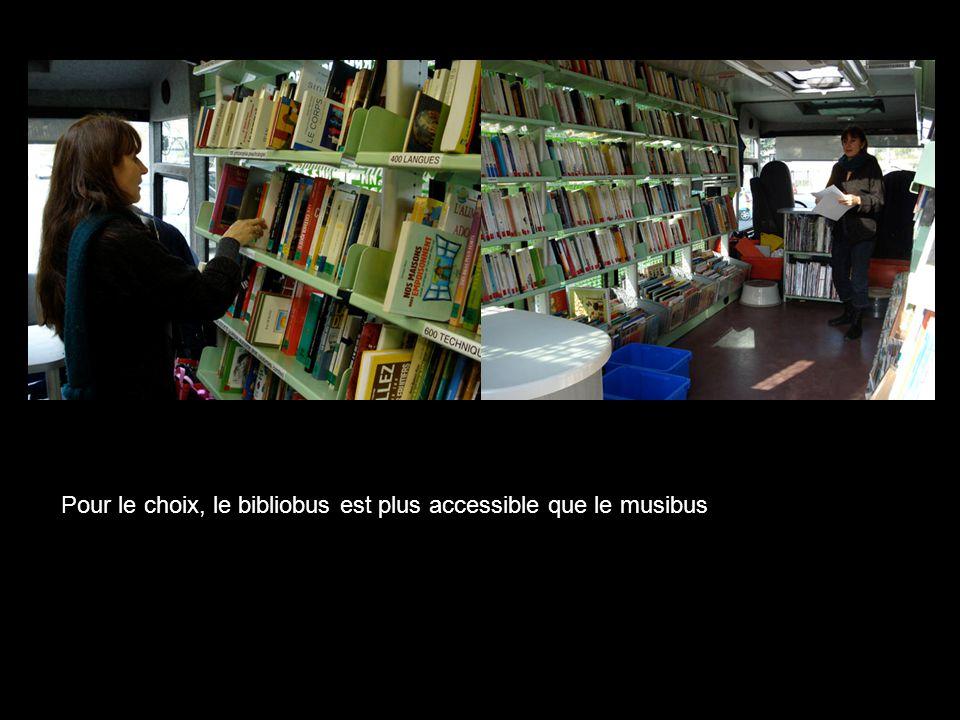 Pour le choix, le bibliobus est plus accessible que le musibus
