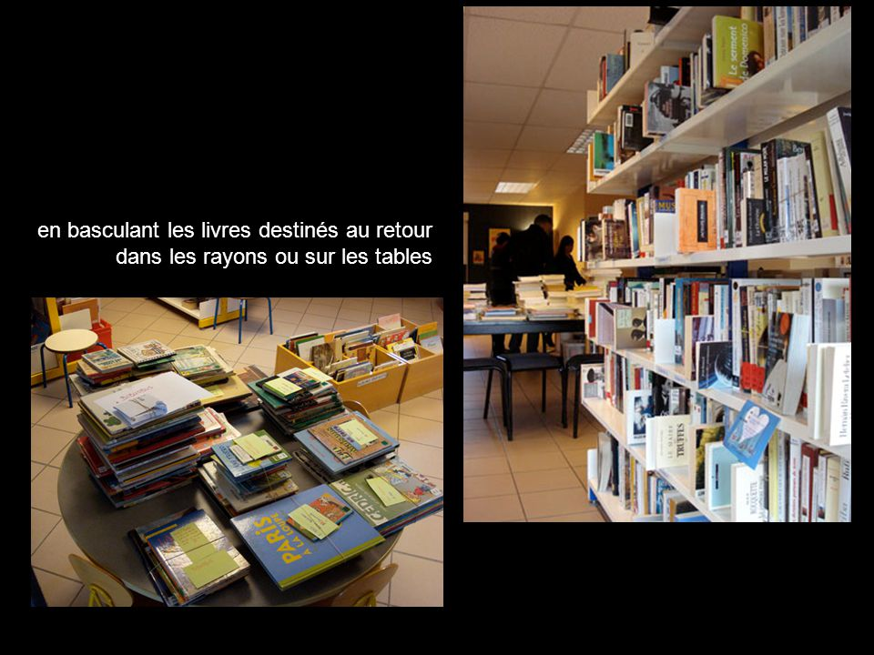 en basculant les livres destinés au retour dans les rayons ou sur les tables