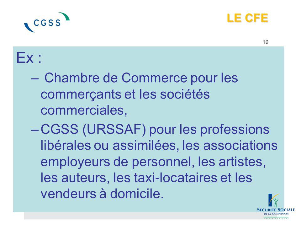 LE CFE 10 Ex : – Chambre de Commerce pour les commerçants et les sociétés commerciales, –CGSS (URSSAF) pour les professions libérales ou assimilées, l