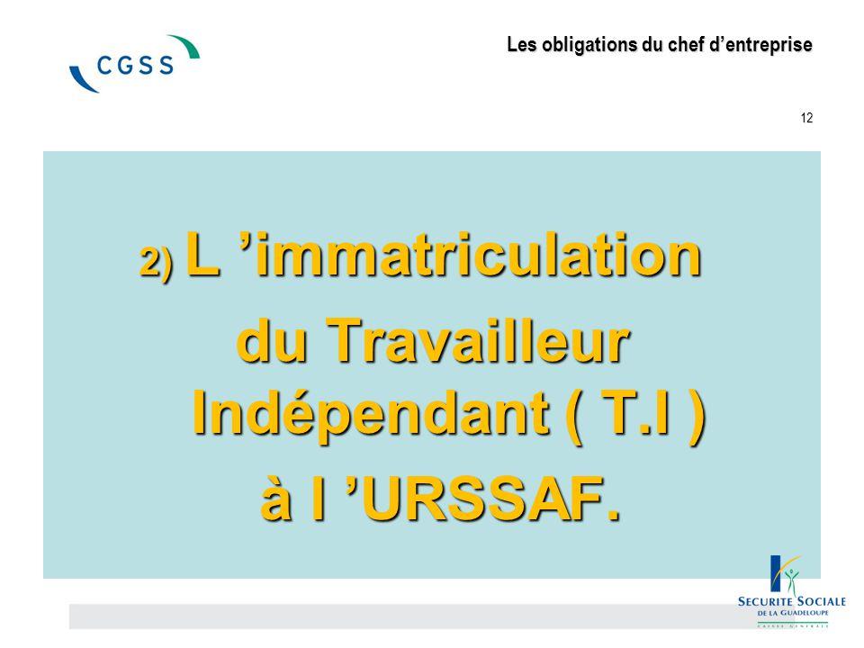 Les obligations du chef d'entreprise 12 2) L 'immatriculation du Travailleur Indépendant ( T.I ) à l 'URSSAF. à l 'URSSAF.