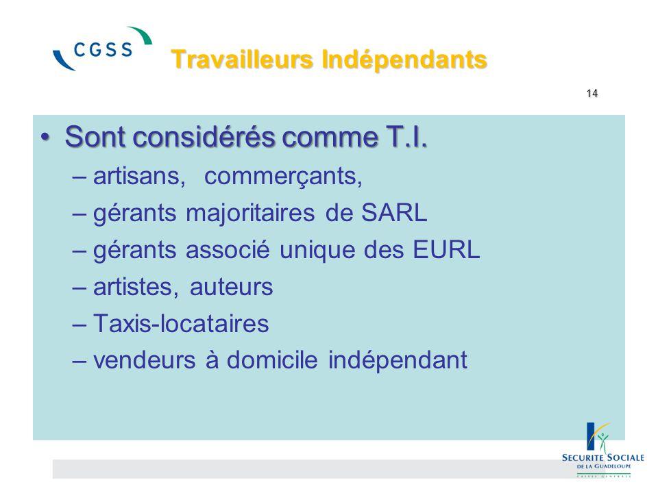Travailleurs Indépendants 14 Travailleurs Indépendants 14 Sont considérés comme T.I.Sont considérés comme T.I. –artisans, commerçants, –gérants majori