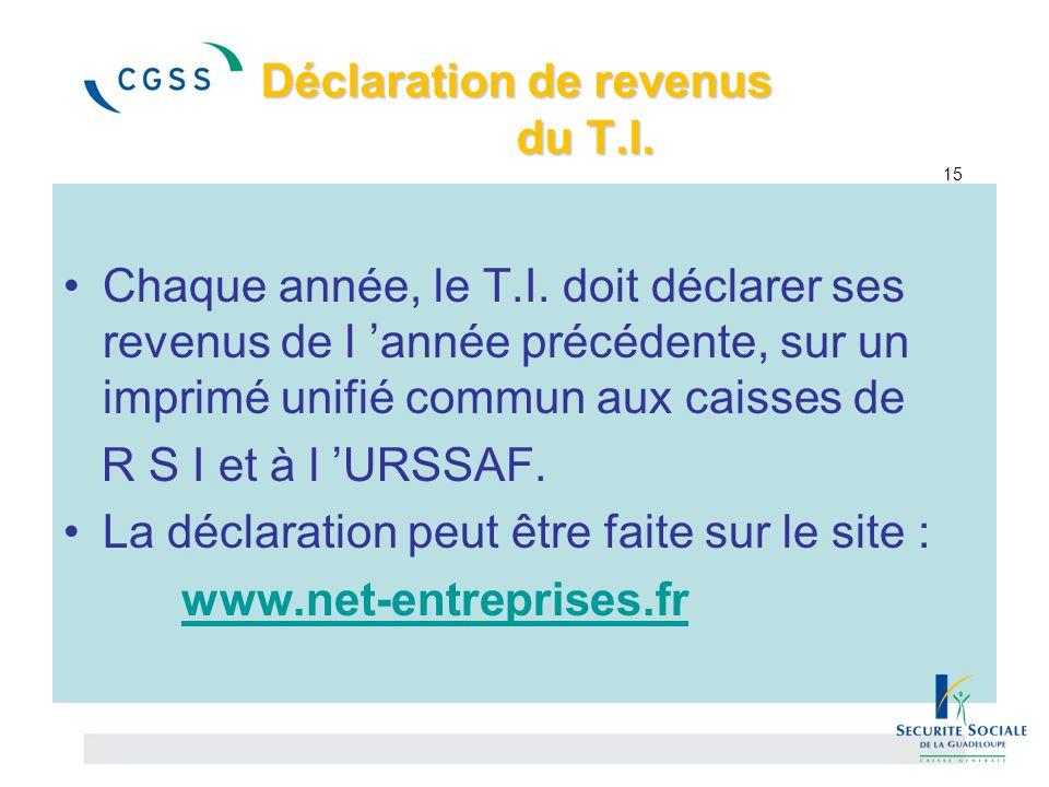 Déclaration de revenus du T.I. Déclaration de revenus du T.I. 15 Chaque année, le T.I. doit déclarer ses revenus de l 'année précédente, sur un imprim