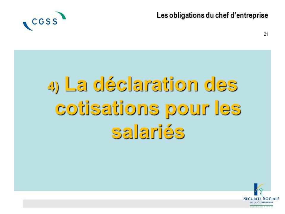 Les obligations du chef d'entreprise Les obligations du chef d'entreprise 21 4) La déclaration des cotisations pour les salariés