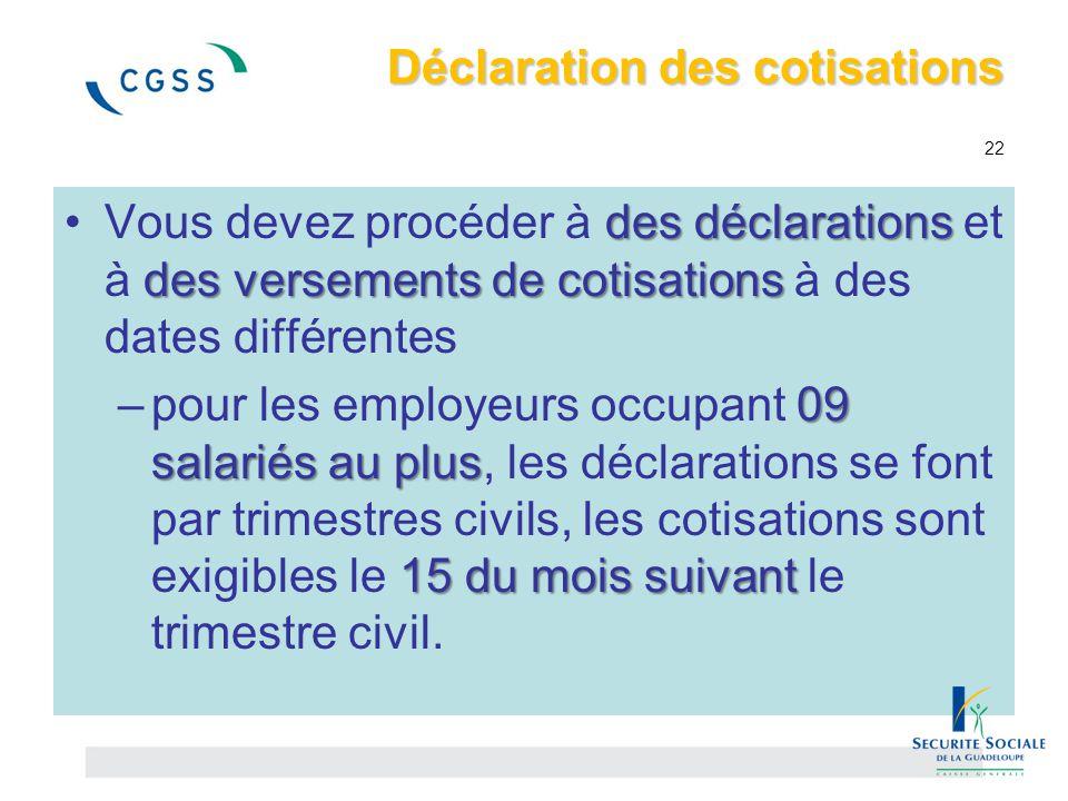 Déclaration des cotisations Déclaration des cotisations 22 des déclarations des versements de cotisationsVous devez procéder à des déclarations et à d