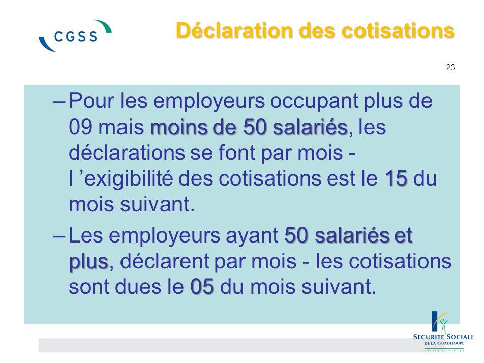 Déclaration des cotisations Déclaration des cotisations 23 moins de 50 salariés 15 –Pour les employeurs occupant plus de 09 mais moins de 50 salariés,